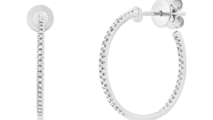0.15ct 14k White Gold Diamond Hoop Earrings by Allurez.
