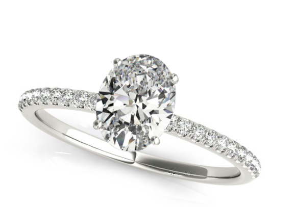 Diamond Accented Oval Shape Engagement Ring 14k White Gold by Allurez.