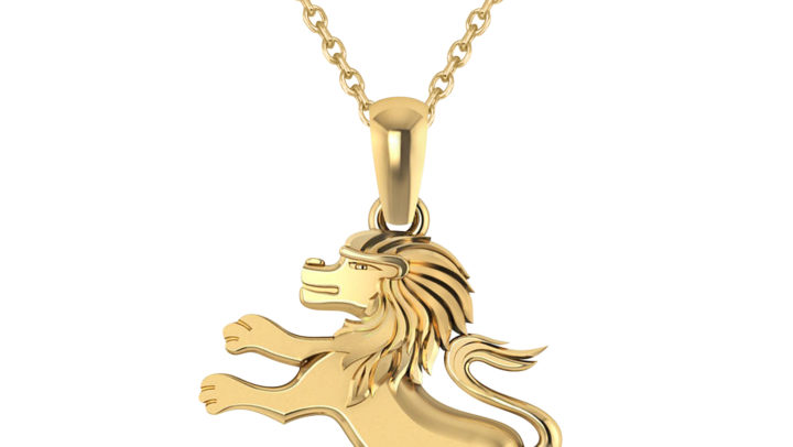 Roaring Lion Charm Pendant Necklace 14k Yellow Gold by Allurez.