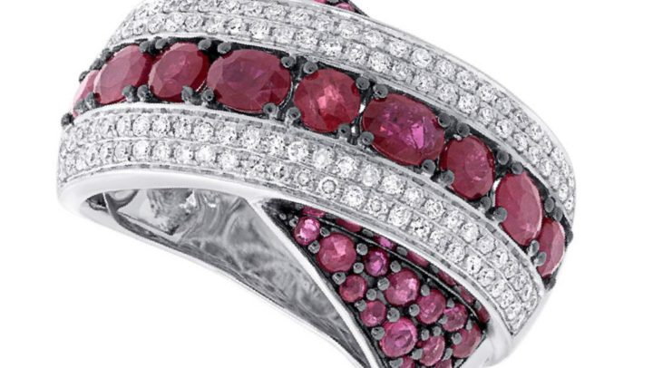 0.57ct Diamond & 2.36ct Ruby 14k White Gold Ring by Allurez.