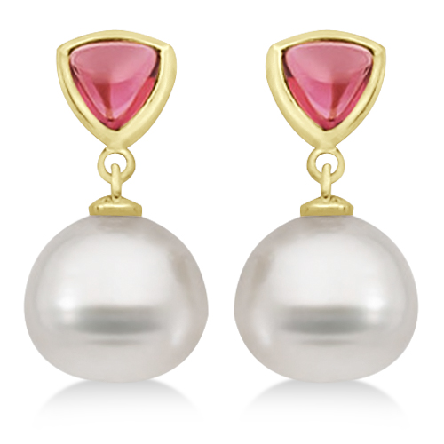 Rhodolite Garnet & South Sea Pearl Drop Earrings 14K Yellow Gold 11mm by Allurez.