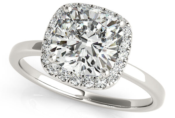 Cushion Solitaire Diamond Halo Engagement Ring 14k White Gold by Allurez.
