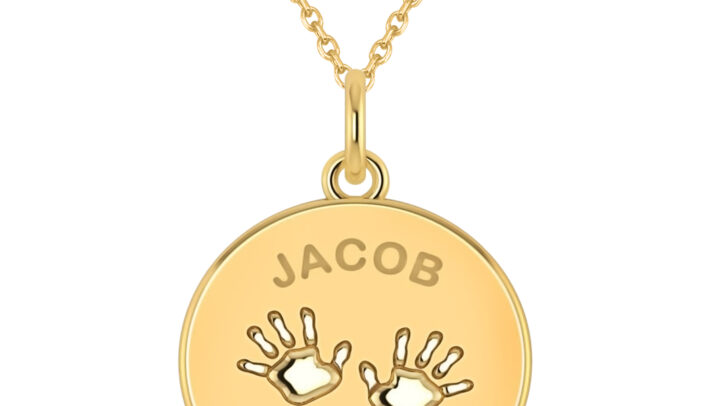 Personalized Baby Name Charm Pendant Necklace 14k Yellow Gold by Allurez.