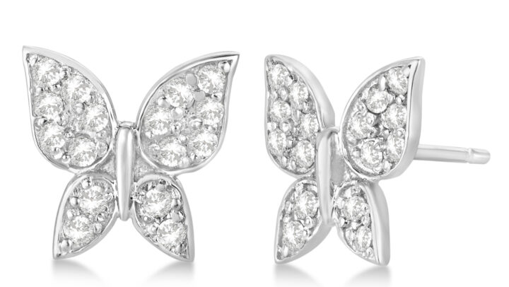 Diamond Butterfly Stud Earrings 14k White Gold by Allurez.