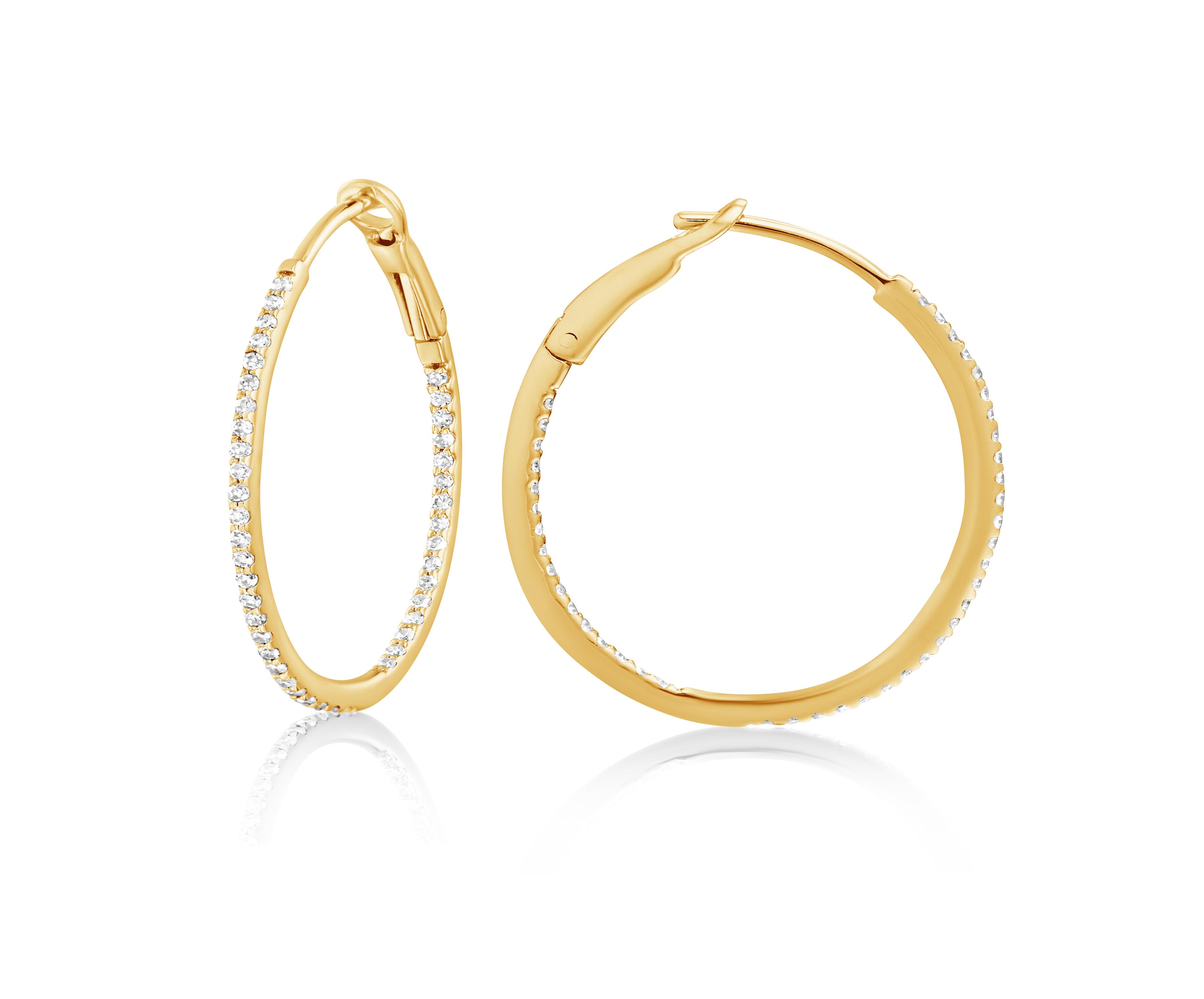 Diamond 25mm Round Skinny Hoop Earrings 14K Yellow Gold from Allurez.