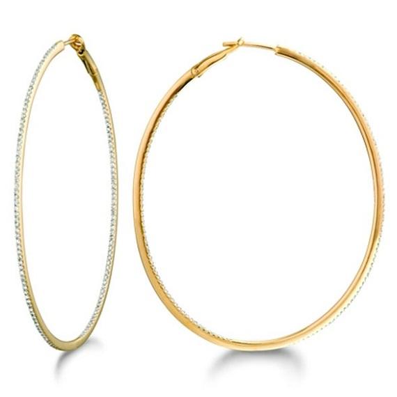 Inside-Outside Pave Oval Diamond Hoop Earrings 14k Yellow Gold by Allurez.
