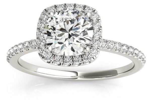 Square Halo Lab Grown Diamond Engagement Ring Setting in 14k White Gold by Allurez.