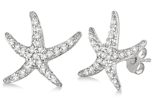 Diamond Starfish Earrings 14k White Gold.