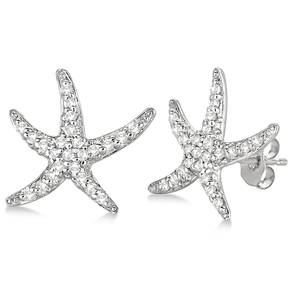 Diamond Starfish Earrings 14k White Gold.