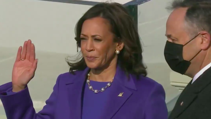 US Vice Presiden Kamala Harris on Inauguration Day. Photo: Screenshot.