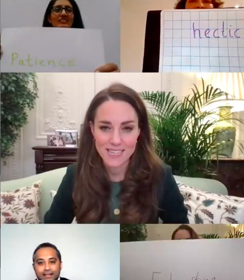 Duchess Kate talking with the parents this week. Photo: Screenshot.
