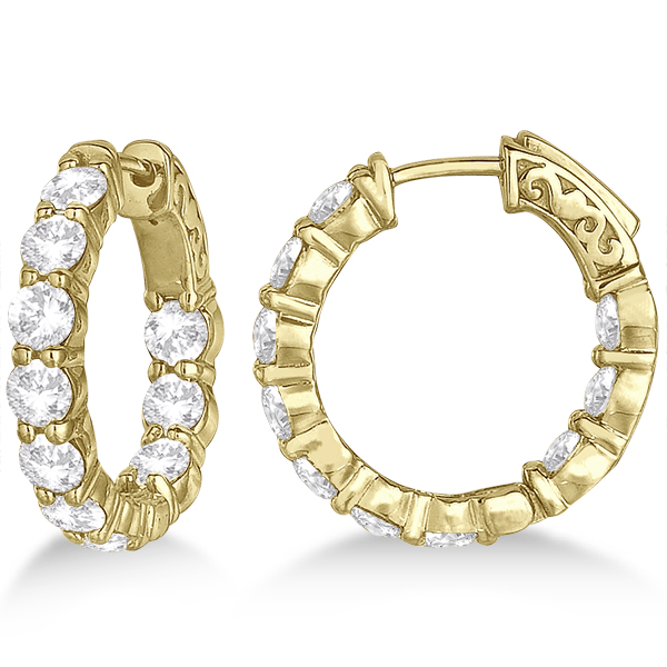 Small Round Diamond Hoop Earrings 14k Yellow Gold from Allurez.