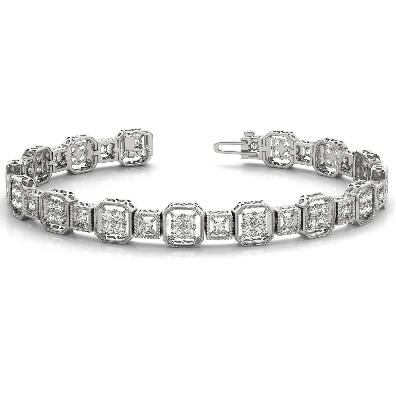Diamond Vintage Square Tennis Link Bracelet 14k White Gold from Allurez.