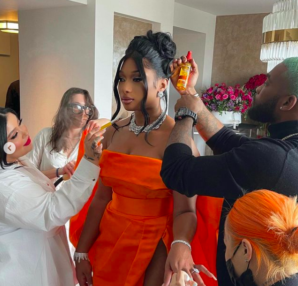 Megan Thee Stallion getting ready for the 2021 Grammy Awards. Photo: Instagram.