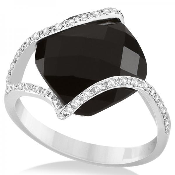 Diamond & Cushion Cut Black Onyx Fashion Ring 14k White Gold from Allurez.