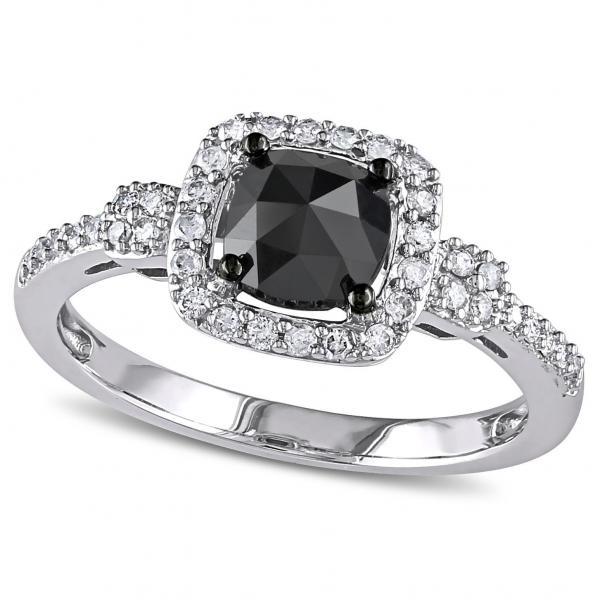 Black & White Diamond Halo Engagement Ring 14k White Gold from Allurez