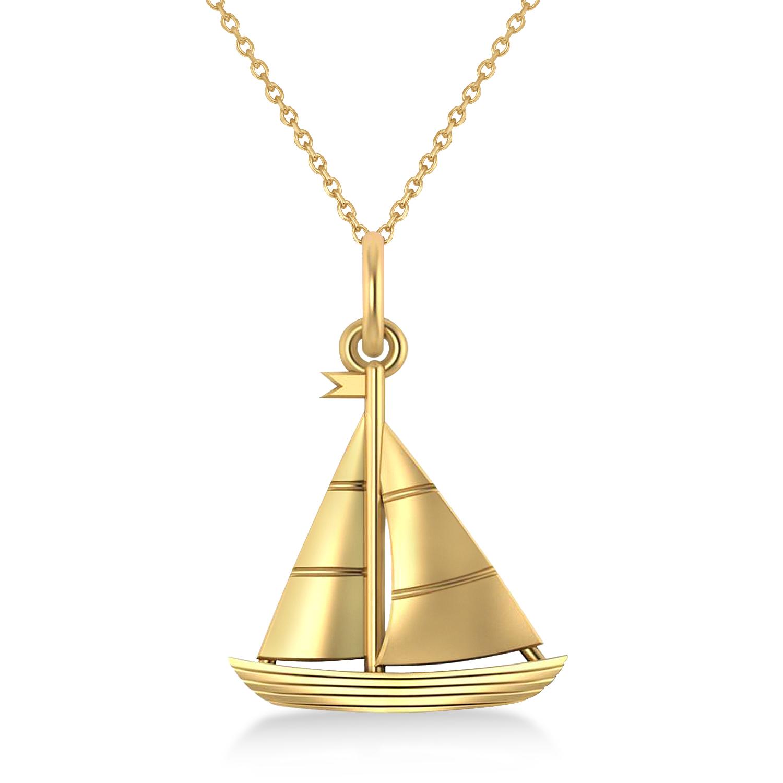 Sailboat Pendant Necklace 14k Yellow Gold by Allurez.