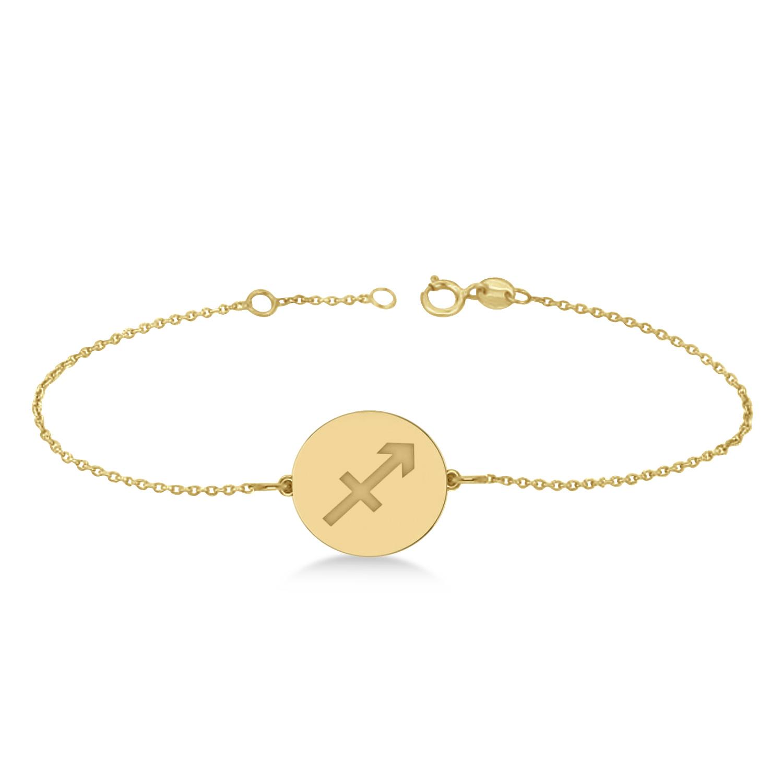 Sagittarius Disk Zodiac Bracelet 14k Yellow Gold from Allurez.