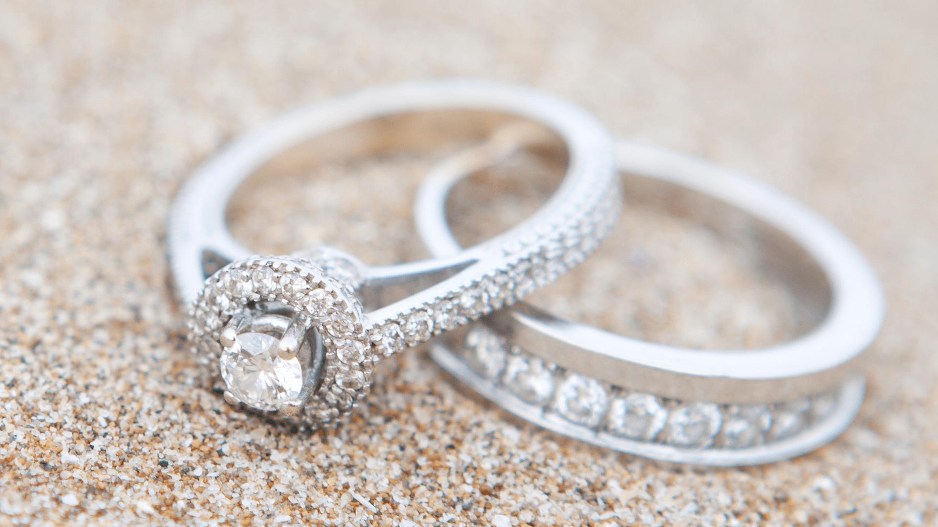 a diamond ring and matching wedding band