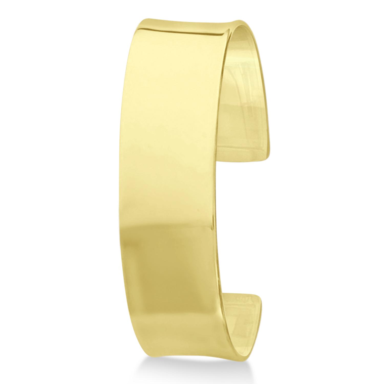 High Polish Cuff Bangle Bracelet 14k Yellow Gold from Allurez.