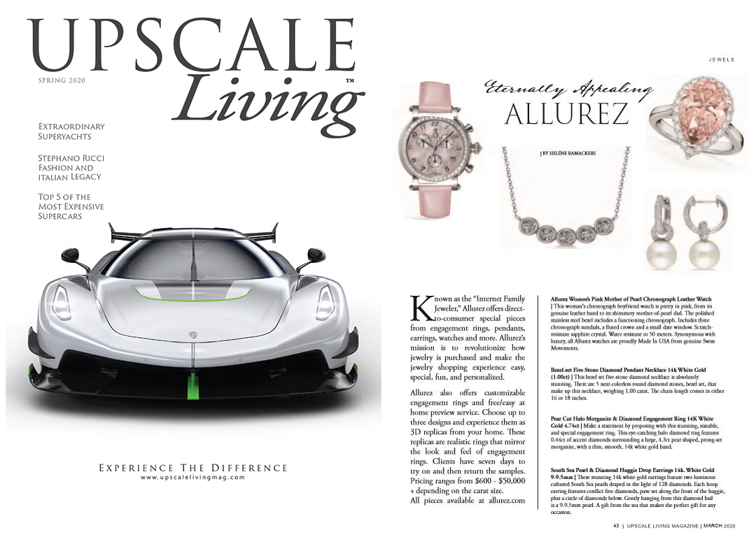 Allurez As Seen In Upscale Living Magazine