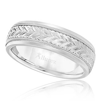 Womens Hand Engraved Wedding Bands