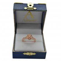 Twisted Halo Diamond Flower Engagement Ring Setting 14k R. Gold 0.63ct