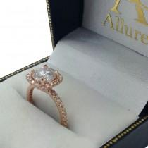 Diamond Accented Square Engagement Setting in 14k Rose Gold (0.20ct)