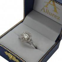 Circle Halo Diamond Accented Engagement Ring 14k White Gold (0.50ct)