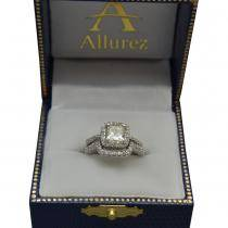 Cushion Cut Diamond Halo Engagement Ring w/ Accents 14k W. Gold 1.50ct