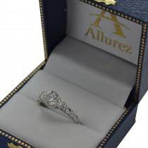 Custom-Made Vintage Heirloom Three Stone Engagement Ring 14k White Gold 1.45ct)