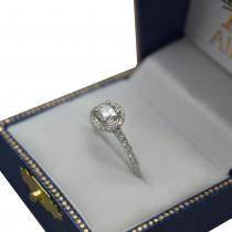 Diamond Halo Cushion Cut Moissanite Engagement Ring 14K W. Gold 0.88ct
