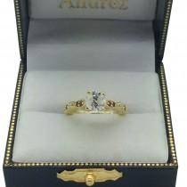 Emerald & Diamond Marquise Engagement Ring 14k Rose Gold (0.20ct)