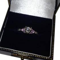 Floral Pink Sapphire & Diamond Engagement Ring Palladium (0.30ct)