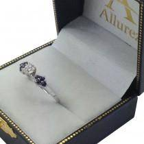 Designer Blue Sapphire Floral Engagement Ring 18k White Gold (0.35ct)