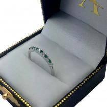 Petite Diamond & Sapphire Engagement Ring 14k White Gold (0.15ct)