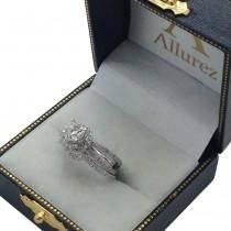 Diamond Halo Split Shank Engagement Ring 14k White Gold (0.46ct)
