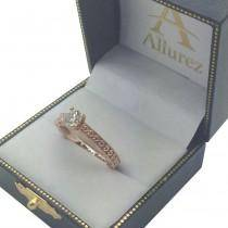 Solitaire Engagement Ring Setting with Carved Hearts 14K Rose Gold