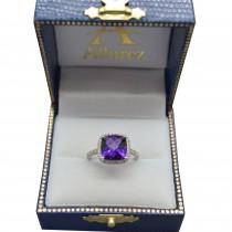Diamond Halo Accented Amethyst Fashion Ring in 14k White Gold (2.84ct)