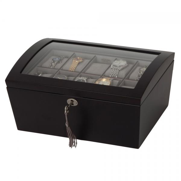 Locking Wooden Watch Box in Java Finish w/ 14 Compartments, Glass Top