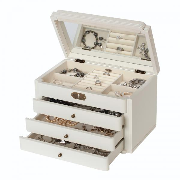 Ivory Wooden Jewelry Box Vintage Style Jewel Chest w/ Scalloped Facade