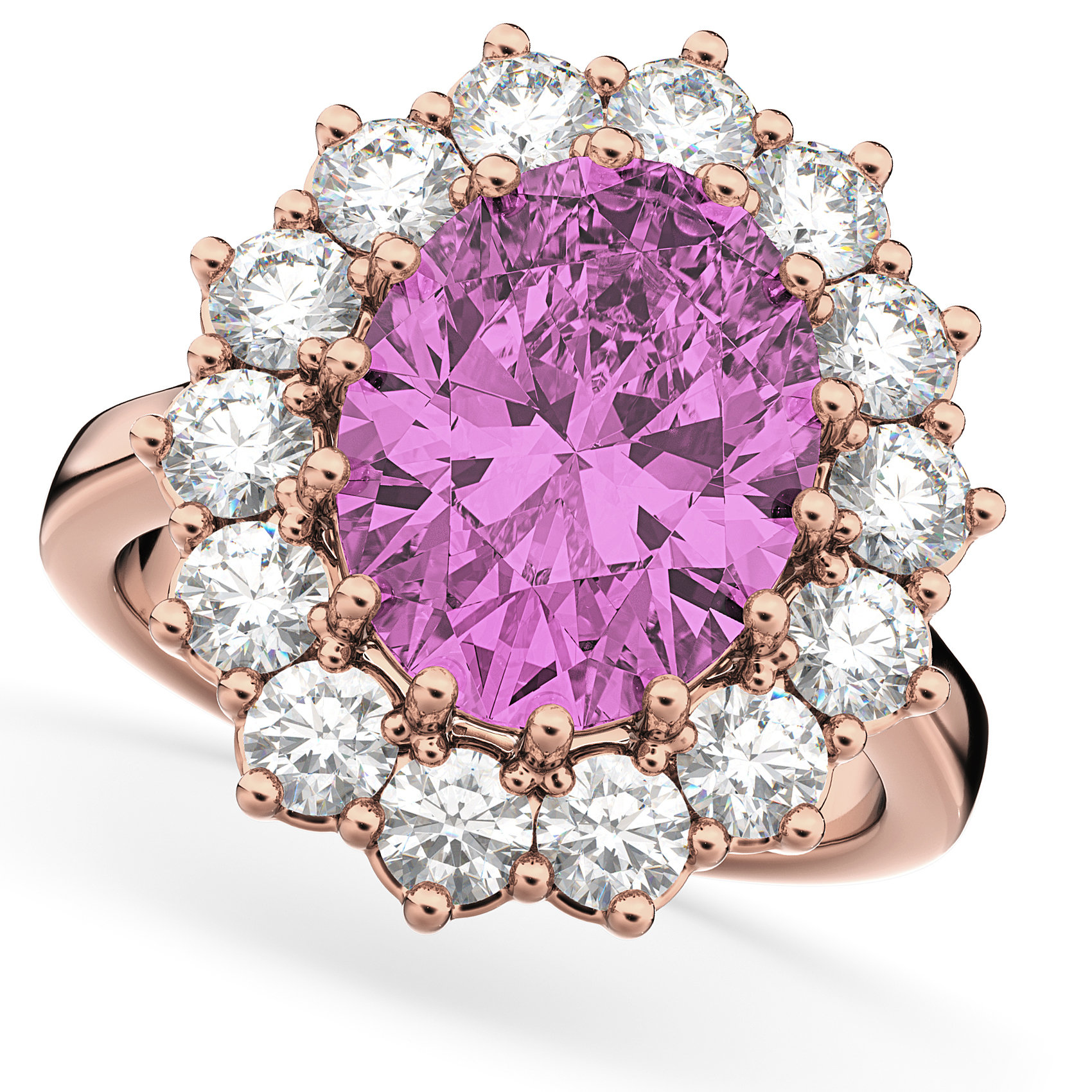 Oval Pink Sapphire & Diamond Halo Lady Di Ring 14k Rose Gold 6.40ct ...