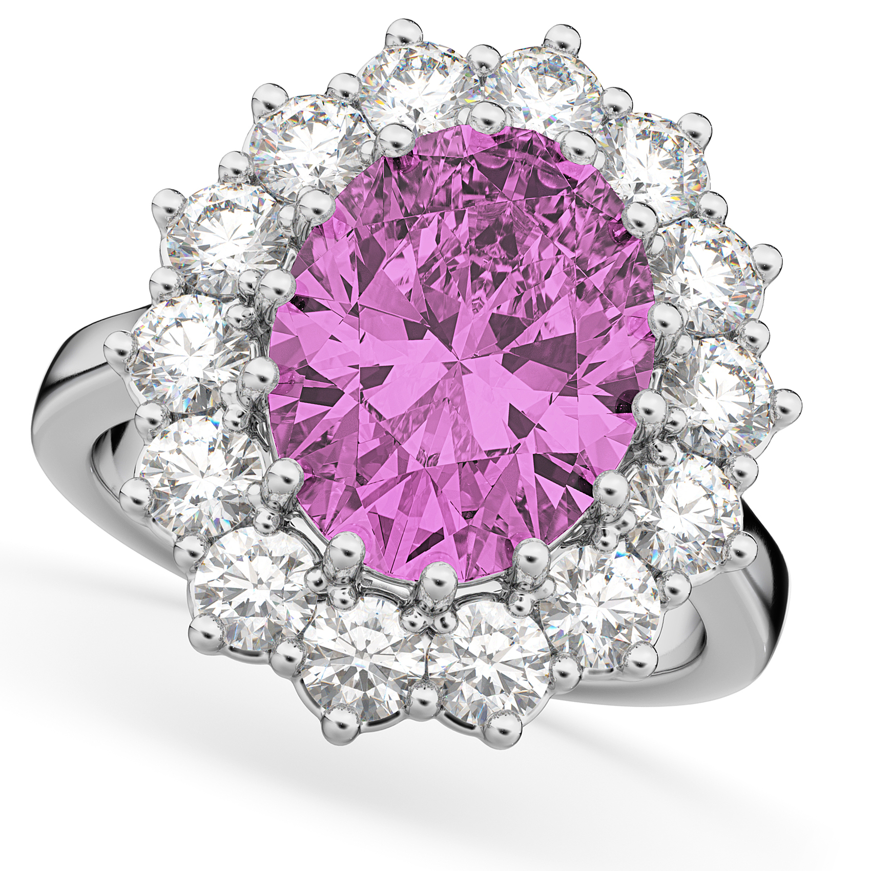 Oval Pink Sapphire & Diamond Halo Lady Di Ring 14k White Gold 6.40ct ...