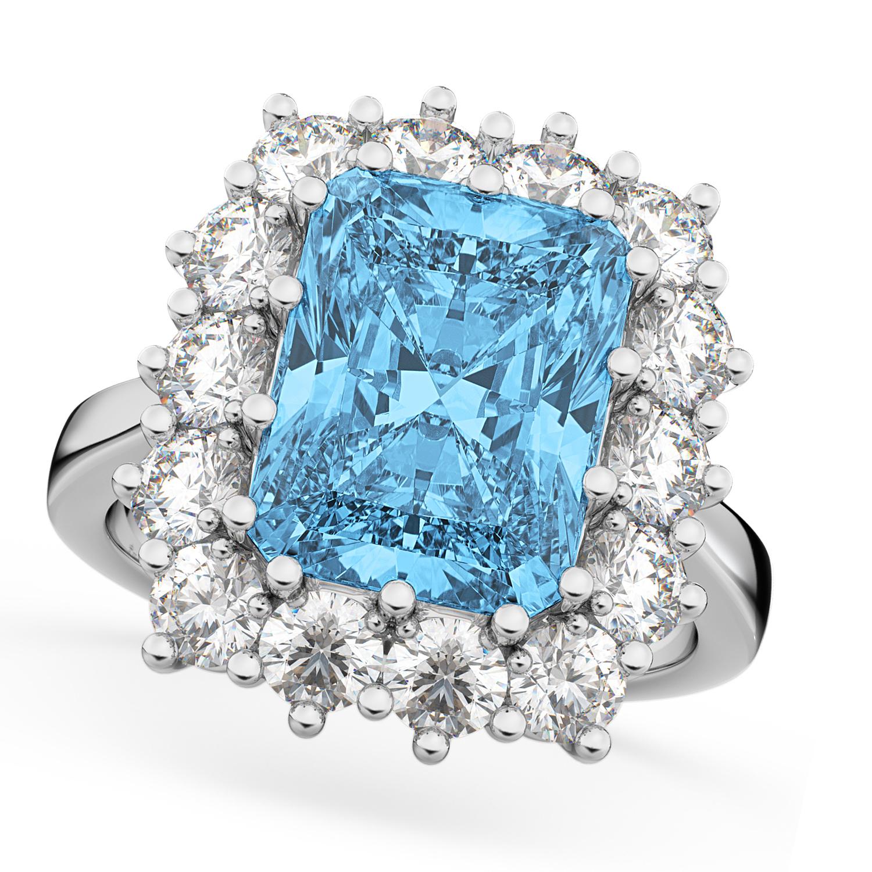 d7ab50a7f9f94 Emerald Cut Blue Topaz & Diamond Lady Di Ring 18k White Gold (5.68ct)