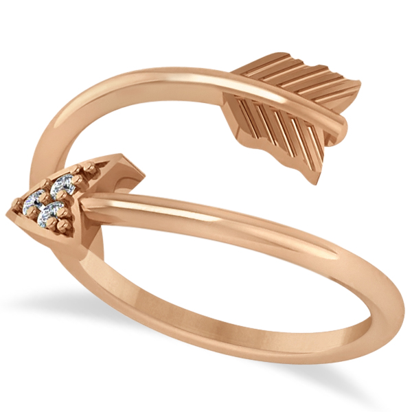 Cupid's Arrow Ring Diamond Accented  14k Rose Gold (0.05ct)