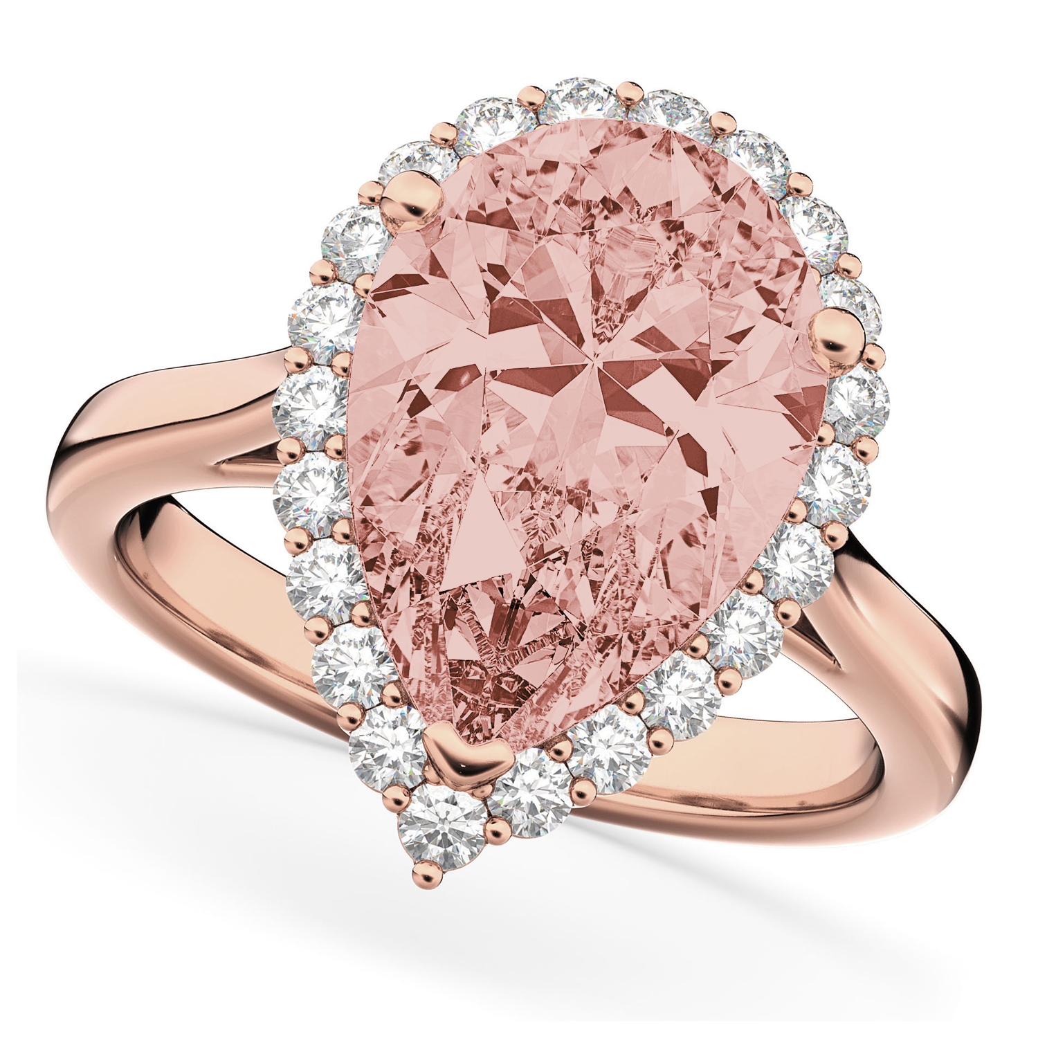 Pear Cut Halo Morganite & Diamond Engagement Ring 14K Rose Gold 4.74 ...