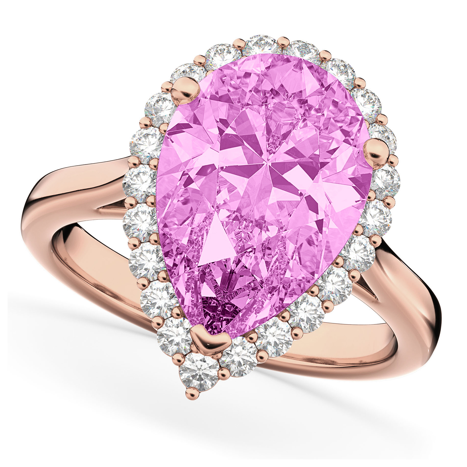 Pear Cut Halo Pink Sapphire & Diamond Engagement Ring 14K Rose Gold ...
