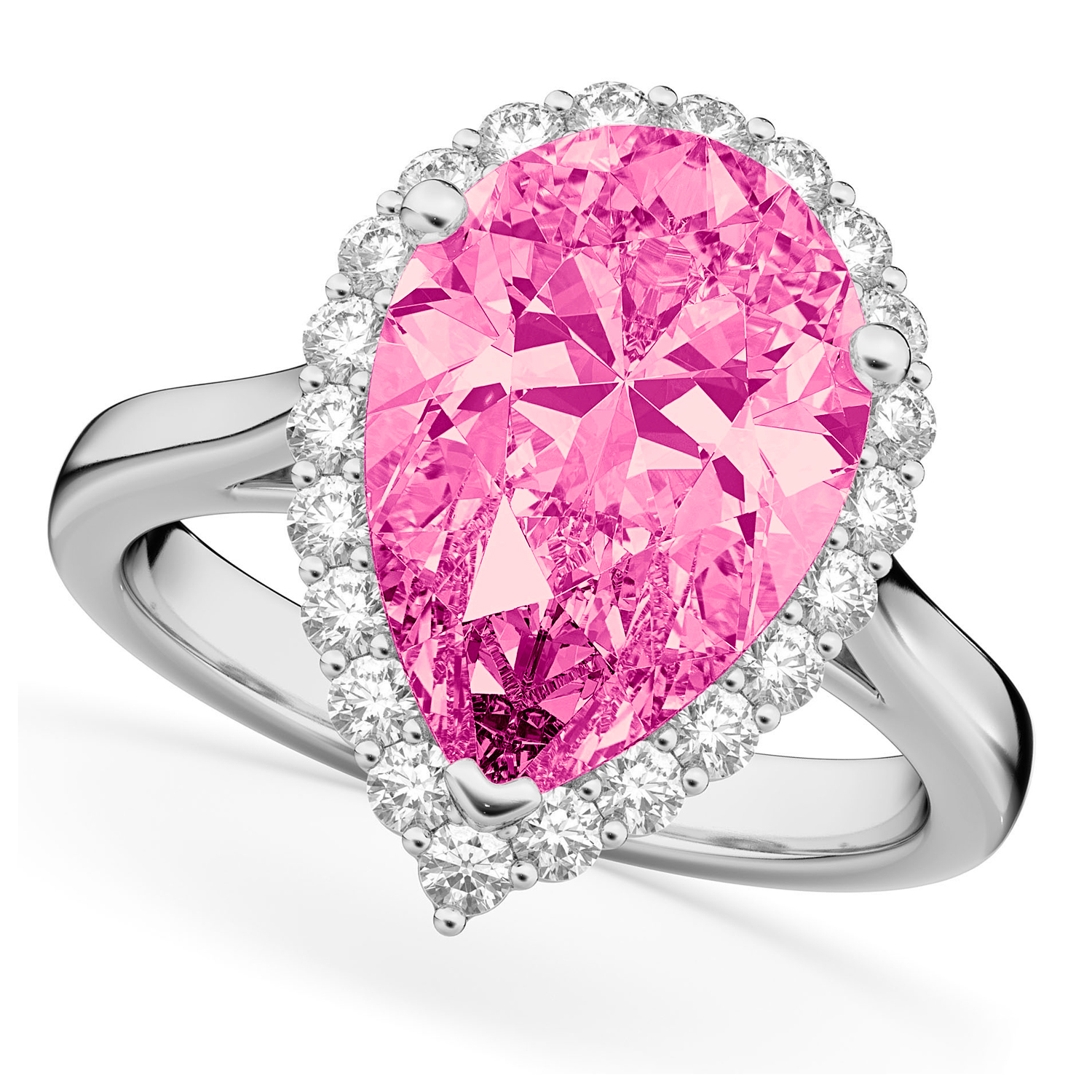 Pear Cut Halo Pink Tourmaline & Diamond Engagement Ring 14K White ...