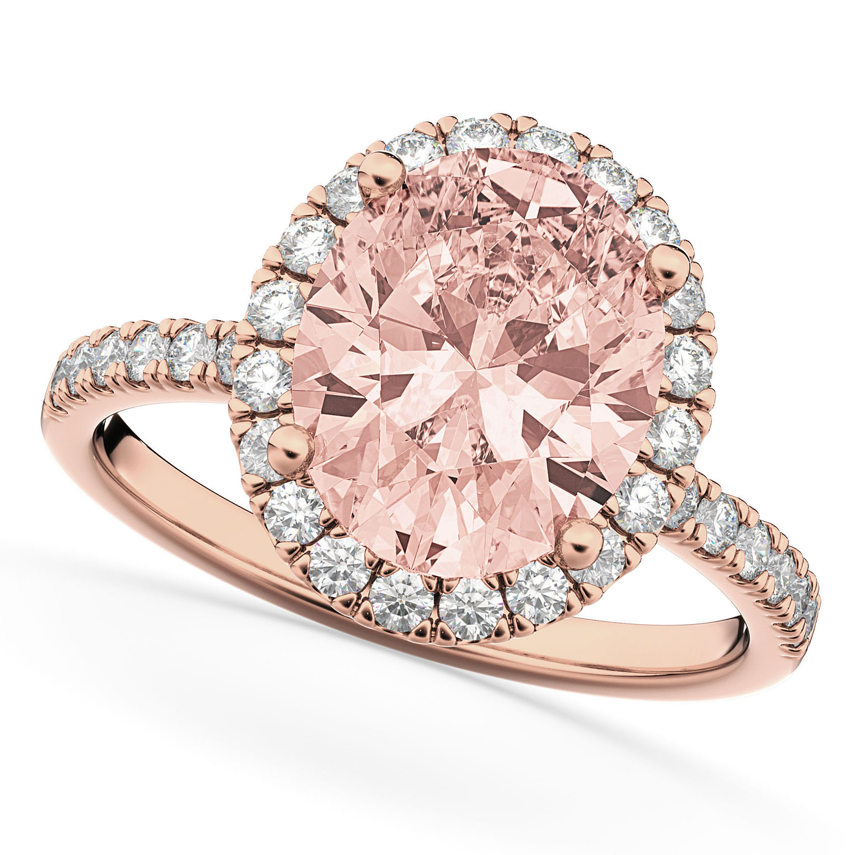 Oval Cut Halo Morganite & Diamond Engagement Ring 14K Rose Gold 2.81 ...