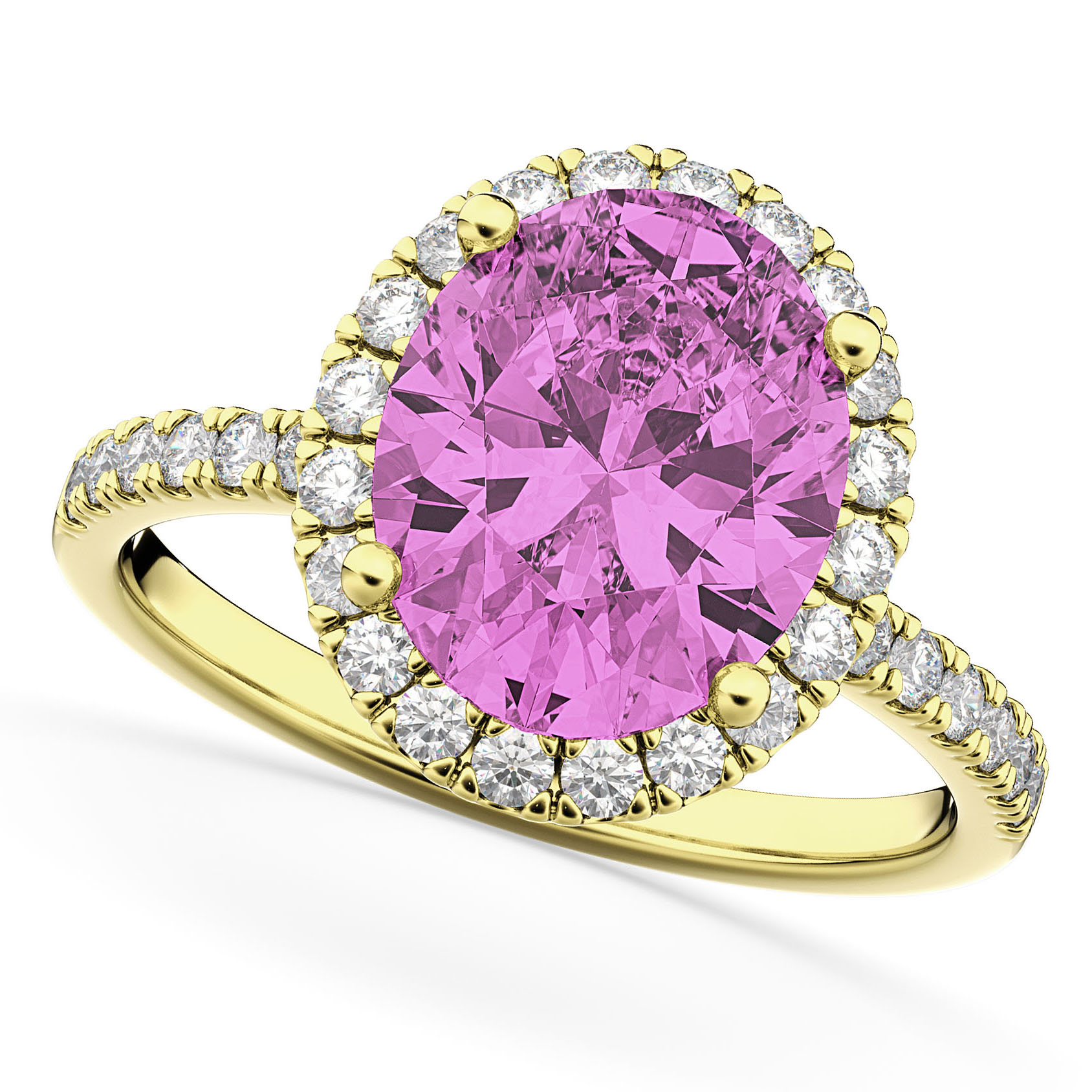 Oval Cut Halo Pink Sapphire & Diamond Engagement Ring 14K Yellow ...